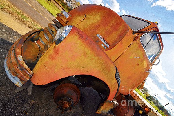 Aged Photograph - Rusted Out Chevrolet 5700 by Liane Wright