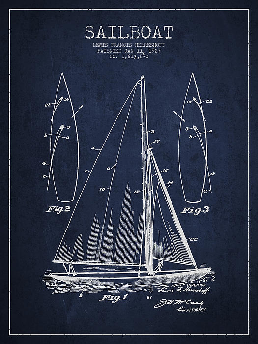 Sailboat Drawing - Sailboat Patent Drawing From 1927 by Aged Pixel