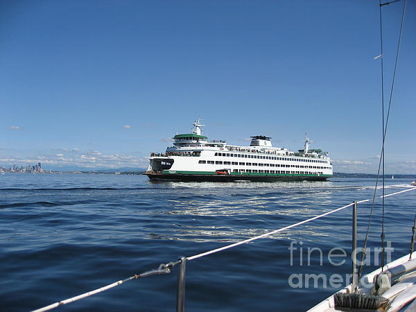 Transportation Photograph - Sailboat Sees Ferryboat by Kym Backland