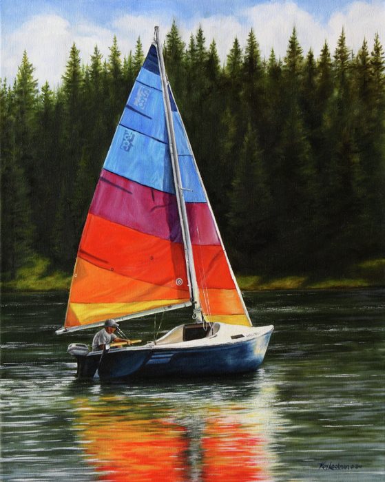 Sailboat Painting - Sailing On Flathead by Kim Lockman
