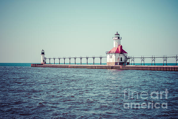 America Photograph - Saint Joseph Michigan Lighthouse Retro Picture  by Paul Velgos