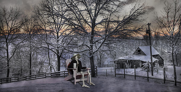 Humans Digital Art - Sam Visits Winter Wonderland by Betsy Knapp