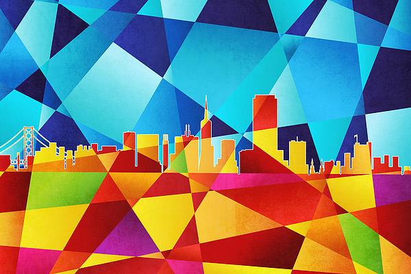 San Francisco Digital Art - San Francisco California Skyline by Michael Tompsett
