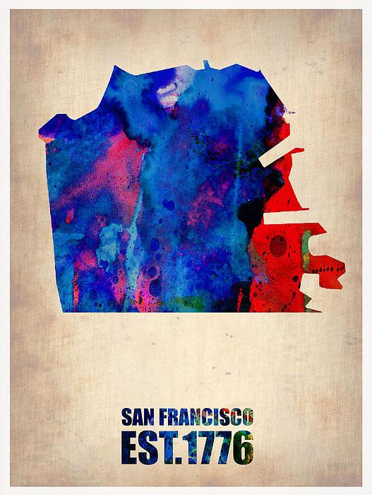 San Francisco Map Painting - San Francisco Watercolor Map by Naxart Studio