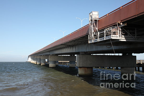San Mateo Photograph - San Mateo Bridge In The California Bay Area 5d21900 by Wingsdomain Art and Photography