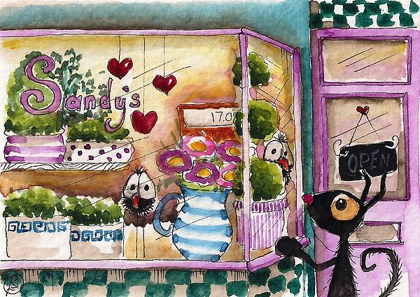 Bird Painting - Sandys Floral Shop by Lucia Stewart