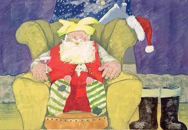 Christmas Painting - Santa Warming His Toes  by David Cooke
