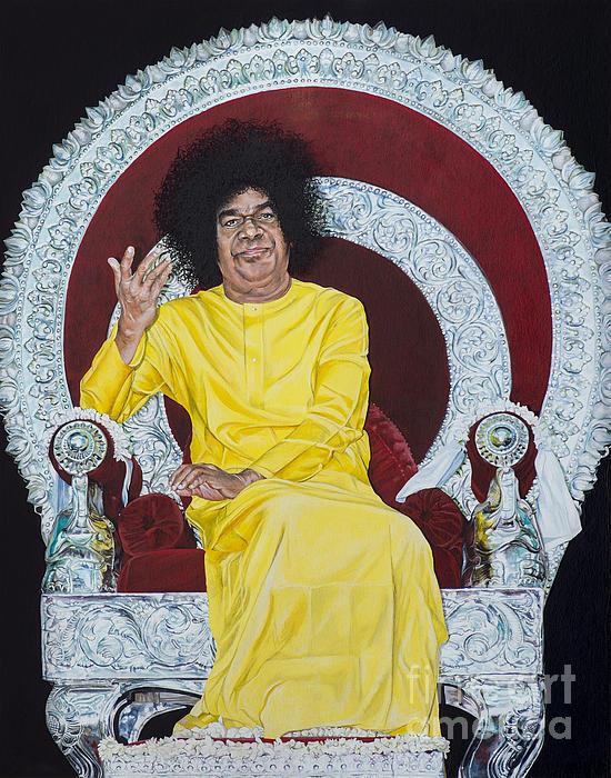 Swami Painting - Sathya Sai Baba  by Tim Gainey