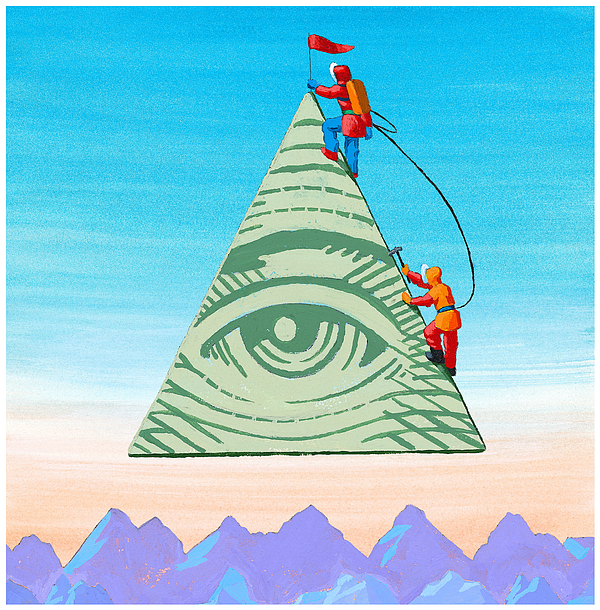 Scaling The Financial Pyramid Drawing by Jonathan Evans