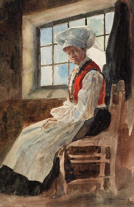 Scandinavia Painting - Scandinavian Peasant Woman In An Interior by Alexandre Lunois