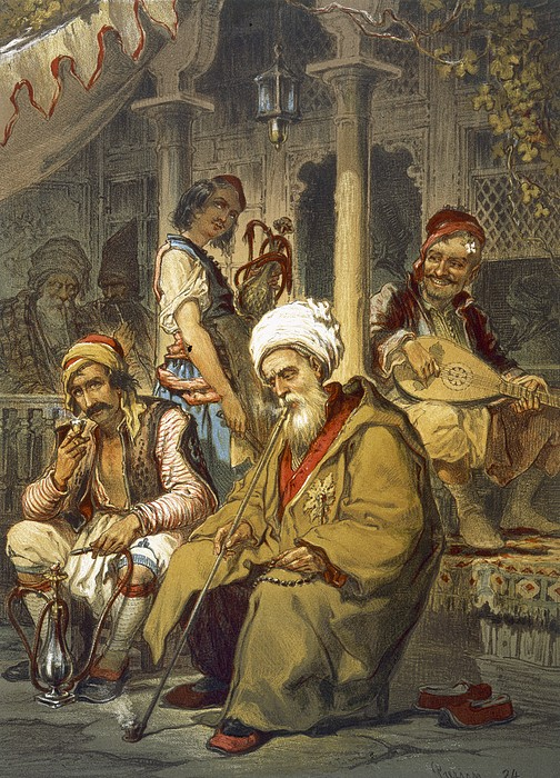 Scene Drawing - Scene In A Cafe, 1865 by Amadeo Preziosi