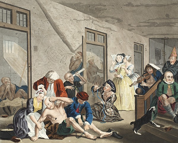 Interior Drawing - Scene In Bedlam, Plate Viii, From A by William Hogarth