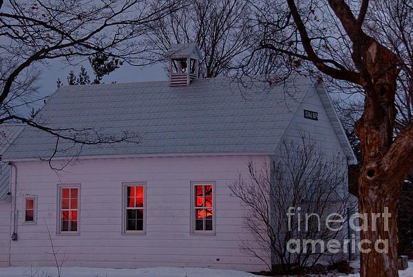 Tree Photograph - School House Sunset by Cheryl Baxter