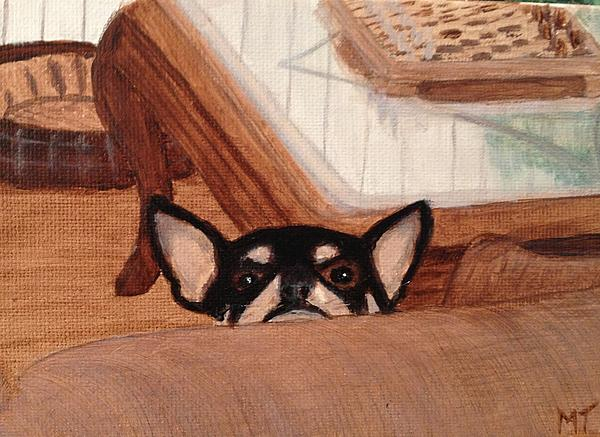 Chihuahua Painting - Scooter Peeking Over Couch by Michelle Treanor