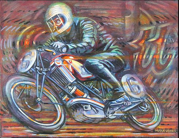 Motorcycle Painting - Scott 2 by Mark Jones
