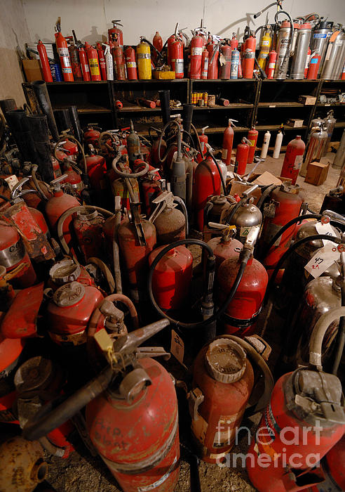A Lot Photograph - Sea Of Fire Extinguishers by Amy Cicconi