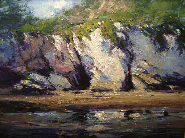 Pismo Beach Painting - Seacaves At Pismo Beach by R W Goetting