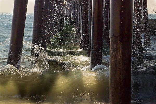 Angry Photograph - Seal Beach Pier Surf by Heidi Smith