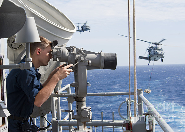Military Photograph - Seaman Apprentice Stands Watch Aboard by Stocktrek Images