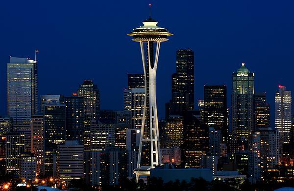 Seattle Photograph - Seattle Skyline At Night by Jetson Nguyen