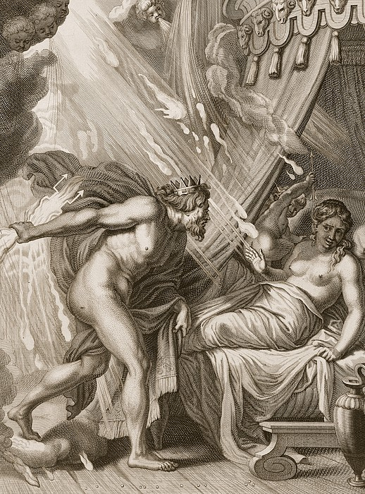 Jupiter Drawing - Semele Is Consumed By Jupiters Fire by Bernard Picart