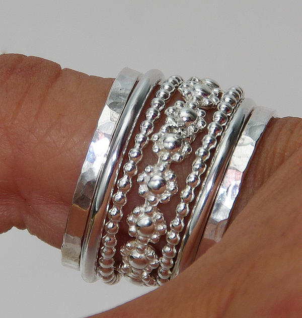 Stack Rings Jewelry - Set Of Stacking Rings Sterling Silver Bold Band Of Daisy Flowers Between Dotted And Hammered Bands by Nadina Giurgiu