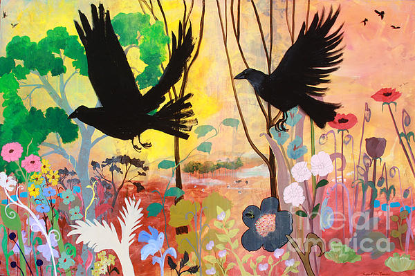 Crows Painting - Seven Circling Crows by Robin Maria Pedrero