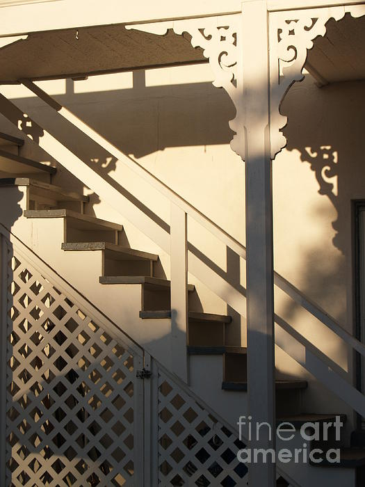 Stairs Photograph - Shadowy Lambertville Stairwell by Anna Lisa Yoder
