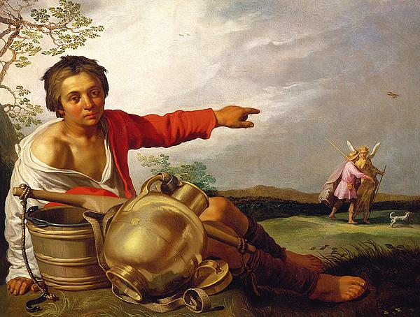 Pointing Painting - Shepherd Boy Pointing At Tobias And The Angel by Abraham Bloemaert