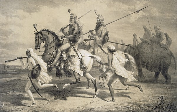Sikh Painting - Sikh Chieftans Going Hunting by A Soltykoff