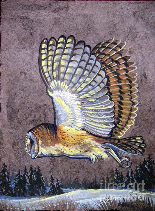 Chabrier Painting - Silent Night Owl by Anne Shoemaker-Magdaleno