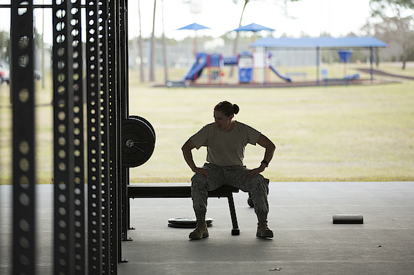 Silhouetted Female Soldier Barbell Training At Air Force Military Base Photograph by Sean Murphy