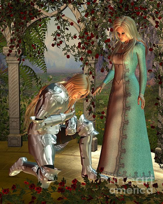 Knight Digital Art - Sir Launcelot And Queen Guinevere by Fairy Fantasies
