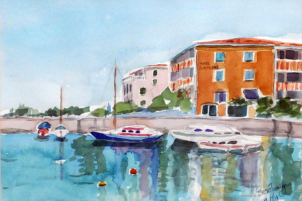 Boat Painting - Sirmione Waterfront by Susie Jernigan