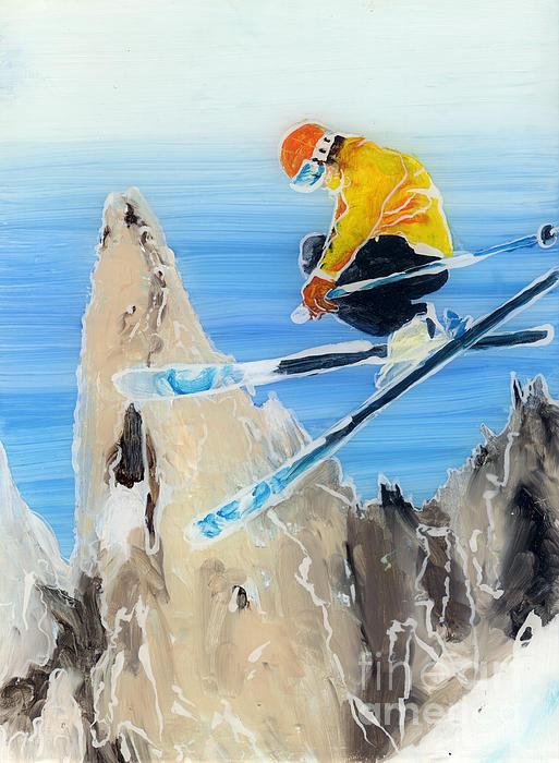 Ski Paintings Painting - Skiing At Flegere by Sara Pendlebury