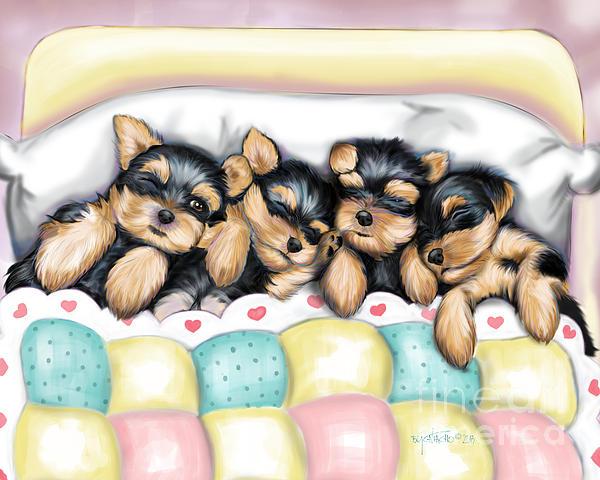Yorkie Mixed Media - Sleeping Babies by Catia Cho