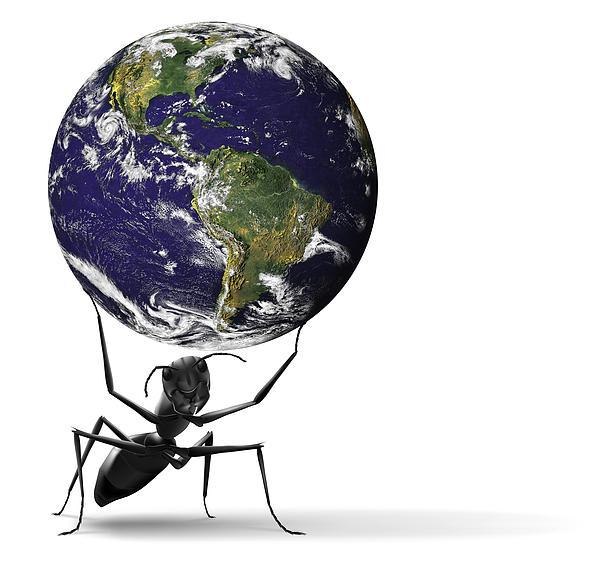 America Digital Art - Small Ant Lifting Heavy Blue Earth by Dirk Ercken