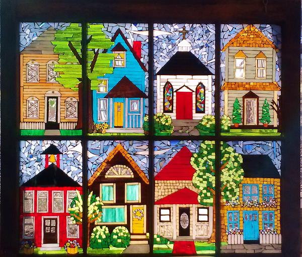 Stained Glass Glass Art - Small Town by Liz Lowder