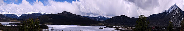 Landscape Photograph - Snow Lake And Mountains by Maria Arango Diener