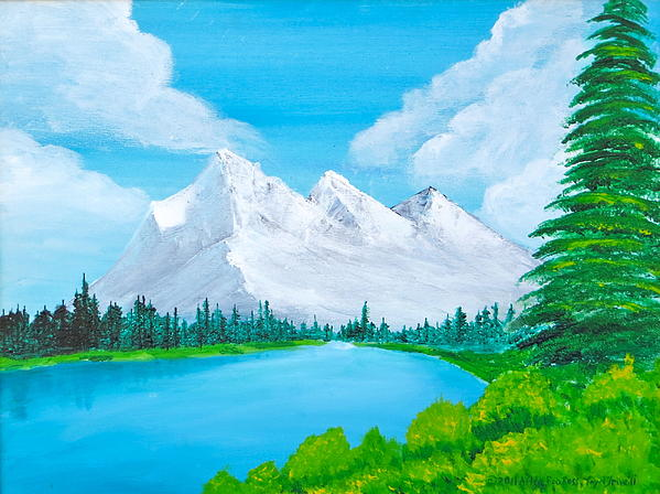 Mountains Painting - Snowcapped Mountains by Artistic Indian Nurse