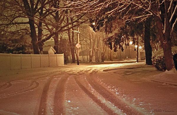 Seasonal Photograph - Snowy Night by Mikki Cucuzzo