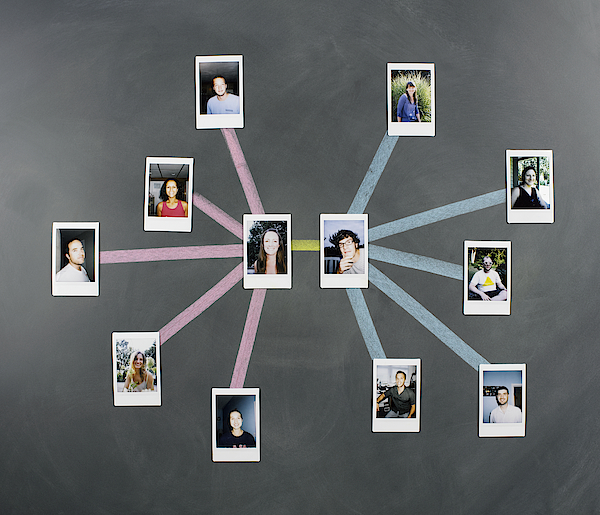Social Network Diagram With Photos Photograph by Jeffrey Coolidge