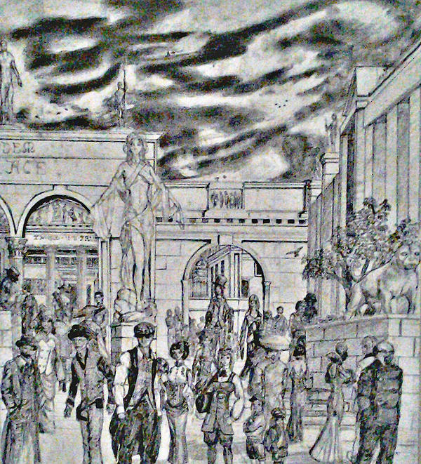 Sodom Marketplace   Drawing by George Harrison