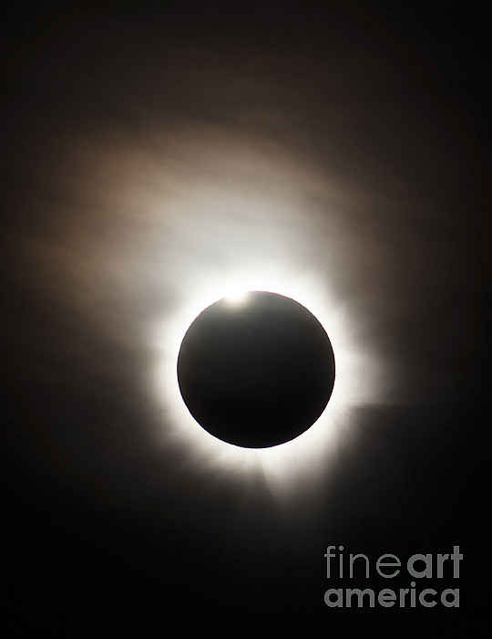 Eclipse Photograph - Solar Eclipse With Diamond Ring Effect by Philip Hart