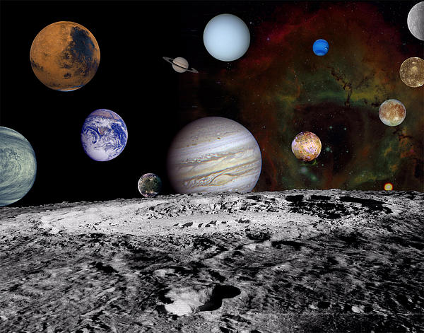 Space Photograph - Solar System Montage Of Voyager Images by Movie Poster Prints