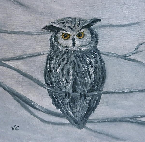 Owl Painting - Solstice Owl by Victoria Lakes