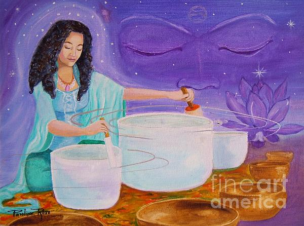 Singing Crystal Bowls Painting - Song Of Inner Peace by Pauline Ross