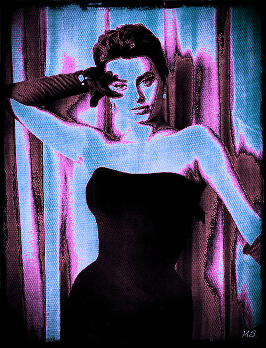 Sophia Loren Digital Art - Sophia Loren - Blue Pop Art by Absinthe Art By Michelle LeAnn Scott