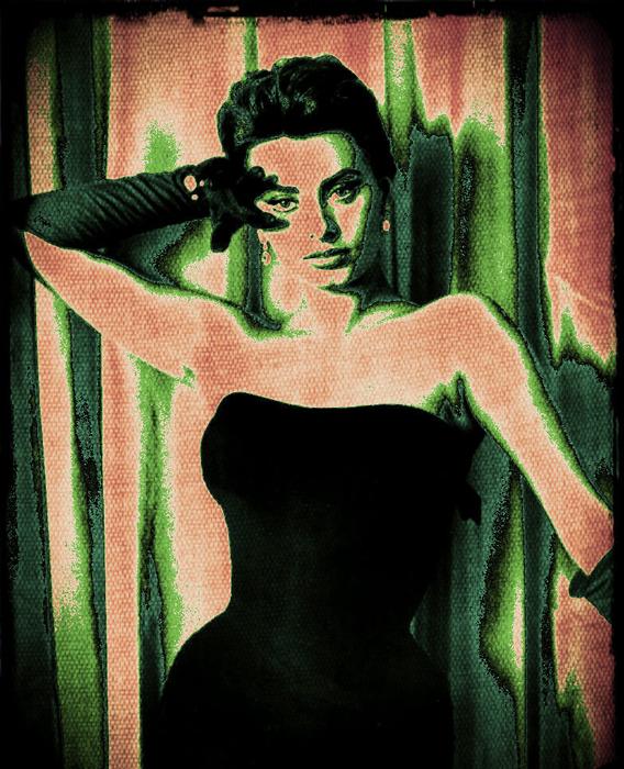 Sophia Loren Digital Art - Sophia Loren - Green Pop Art by Absinthe Art By Michelle LeAnn Scott