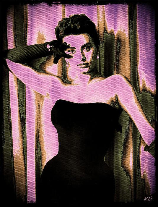 Sophia Loren Digital Art - Sophia Loren - Purple Pop Art by Absinthe Art By Michelle LeAnn Scott